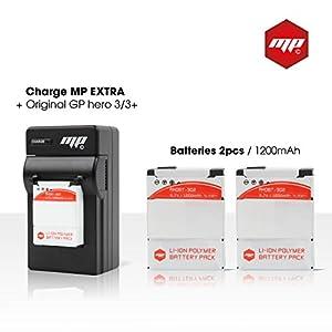 2 batteries pour gopro 3+ et gopro 3 black silver white MP EXTRA ® - puissance PREMIUM 1200mAh - Chargeur de batterie secteur Europe US-UK - adaptateur allume cigare - boite de transport pour les batteries