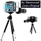 8X Zoom Universal Mobile Phone Telescope Camera Lens & Tripod+Adjustable Holder(random Colors)