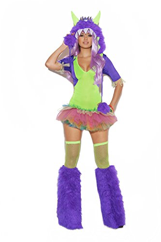 Sexy Women's One Eyed Monster Furry Hood Tutu Dress Costume, X-large, Neon Green