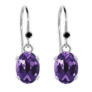 1.52 Ct Oval Purple Amethyst Black Diamond 925 Sterling Silver Earrings