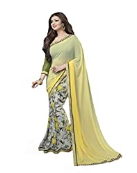 VinayTM Elegant Traditional Designer Georgette Lace Work Printed Yellow Saree With Blouse Material