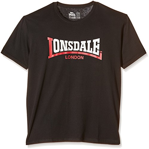Lonsdale T-Shirt Two Tone - T-Shirt manica corta da uomo, nero, M