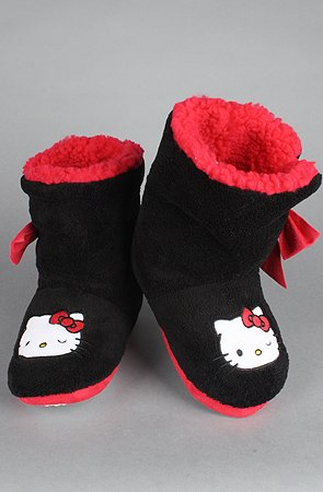Image of Hello Kitty Intimates The Hello Kitty Super Plush Bootie w/ Bow in Black,Accessories for Women (B00693BXC6)