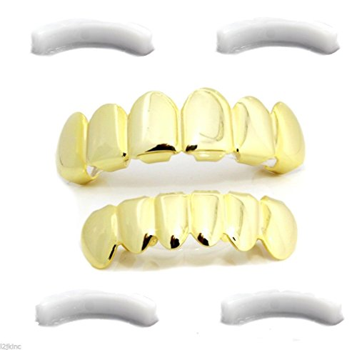 Iced Out Hip Hop 14K Gold Plated Bottom And Top Removable Grillz Set With 4 Silicones