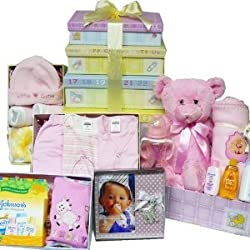 Welcome Little One New Baby Gift Tower, Blue Boys or Pink Girls by Art of Appreciation Gift Baskets