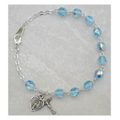 Sterling Silver Womens Rosary Bracelet Aqua March Birthstone.
