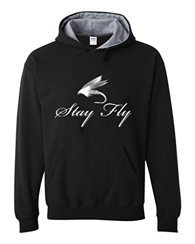 Artix Stay Fly Fishing Hook Sport Unisex Contrast Color Hoodie X-Large Black Sport Grey (Fly Fishing Clothing compare prices)