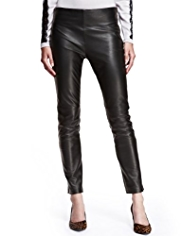 Autograph Slim Leg Leather & Ponte Jersey Trousers