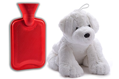 Peter Pan 0.75-Liter Hot Water Bottle with Removable Plush Dog Cover,Made with High-Quality Non-Allergenic Fabric that Allows for Rapid Heat Transfer to Soothe Aches and Pains,White (Hot Water Foot Warmer compare prices)