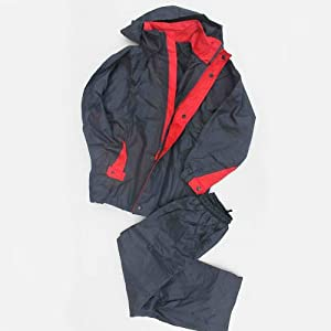 Rain/Wind Proof Jacket & Pants Youth Navy Blue/Red (10)