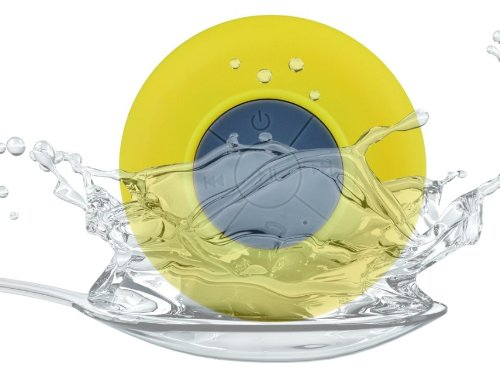 Baudio Round New Waterproof Wireless Bluetooth Shower Speaker Handsfree Speakerphone Compatible With All Bluetooth Devices Iphone 5S And All Android Devices (Yellow)