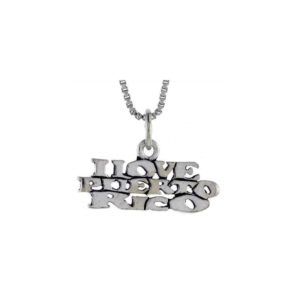 Sterling Silver I LOVE PUERTO RICO Word Necklace, w/ 18 inch Box Chain