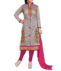Tanmay Fashions Women's Cotton Unstitched Dress Material(Grey_Free Size)