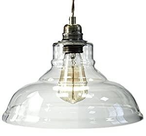 2 Pack Modern Vintage Glass Chandelier Shade Pendant Hanging Ceiling Light E27 Clear Glass by Energy Light Bulbs