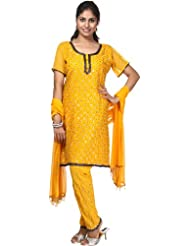 Exotic India Amber Choodidaar Kameez With Embroidered Sequins And Beads - Amber