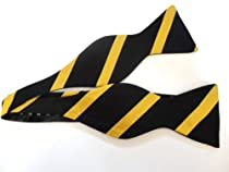 Marlon Garci 100% Silk Gold & Black Thick & Thin Self-tie Bow Tie - Wake Forest, Vanderbilt, Alpha Phi Alpha