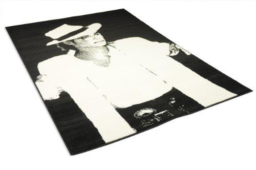 universol tapis salon michael jackson noir et blanc universol gecdif 23399 120x170cm. Black Bedroom Furniture Sets. Home Design Ideas