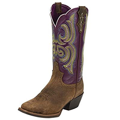 Justin Women's Stampede Western Cowgirl Boot With Rubber Sole Square Toe