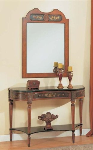 Cheap 2pc Entry Way Console Table & Mirror Set Light Cherry Finish (VF_Entway-AM8402-AM8403)