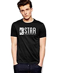 Star Labs The Flash Black Cotton Printed Men T-Shirt By Royal Nesher