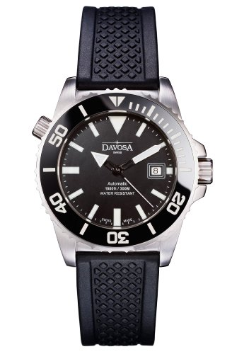 Davosa Men's Automatic Watch with Black Dial Analogue Display and Black Rubber Strap 16149825