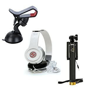 Premium Travel VM46 Headphones+Sefie Stick Aux+Mobile Holder Compatible with Samsung Galaxy J2 (2016)