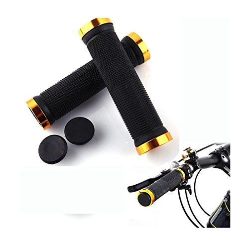 Iuhan® Fashion 2pcs Mountain Cycling Bike Bicycle MTB Handlebar Grips Rubber Anti-slip Handle Grip (gold) (Gold Rims Bmx compare prices)