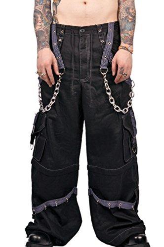 Tripp Gothic Skater Rave Techno Cyber Goth Black Grey Cargo Jeans Pants (XS)