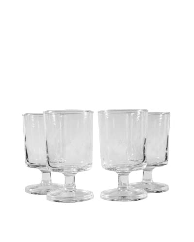 Set of 4 Diamond Pattern Wine Glasses, Clear