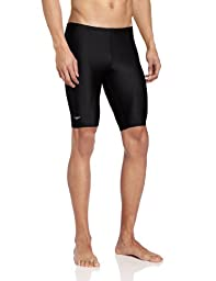 Speedo Men's PowerFLEX Eco Solid Jammer Swimsuit, Black, 36