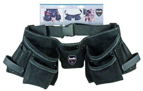 kwb 2-teilige Werkzeugtasche 906810 (aus Leder, mit Messertasche, Nageltasche, Hammerhalter und Gürtel aus Nylon)