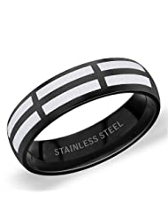 5.5 Mm Peora 316L Stainless Steel Sleek Black Men's Band With Silver Rectangular Design (PSR218)