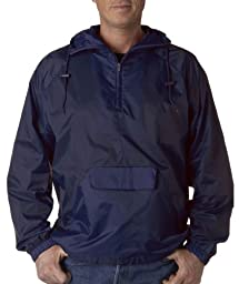 UltraClub Mens 1/4-Zip Hooded Pullover Pack-Away Jacket (8925)-True Navy,X-Large
