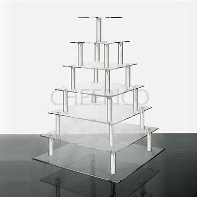 7 Tier Square Wedding Acrylic Cupcake Stand Tree Tower Cup Cake Display