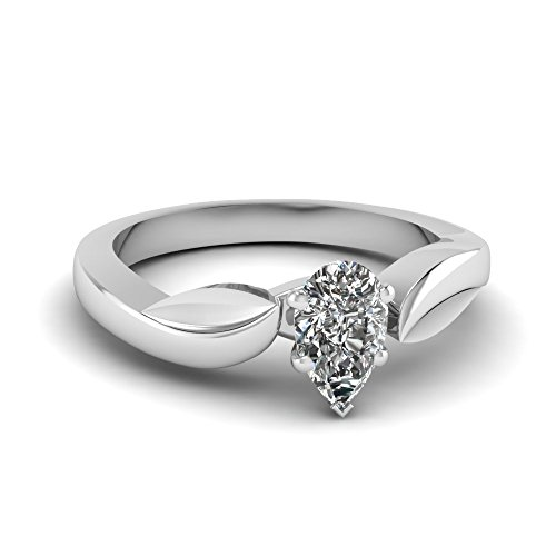 Fascinating Diamonds 0.85 Ct Pear Shaped Solitaire Diamond Engagement Ring Cut:Very Good 14K Gia