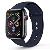 RUOQINI Compatible with Apple Watch Band 40mm 44mm,Sport Silicone Soft Replacement Band Compatible for Apple Watch Series 4