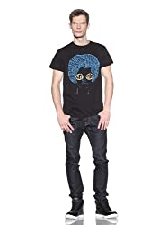 Lords of Liverpool Men's Let It Be Printed Tee, Black/Blue, S US
