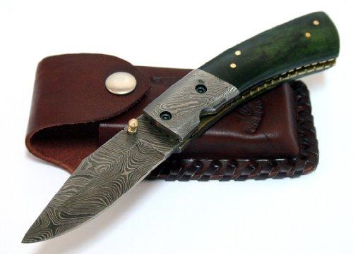 """7.5"""" Damascus Steel Green Folding Knife Sharp Buffalo Horn Handle Hand Made"""