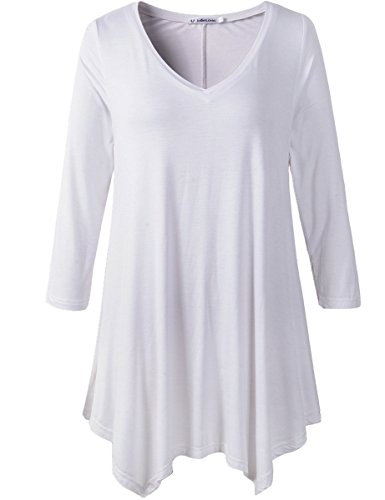 JollieLovin Womens Plus Size 3/4 Sleeve V-neck Flare Hem Loose-fit Tunic Top (1X, A WHITE) (Yoga Tops With Sleeves compare prices)