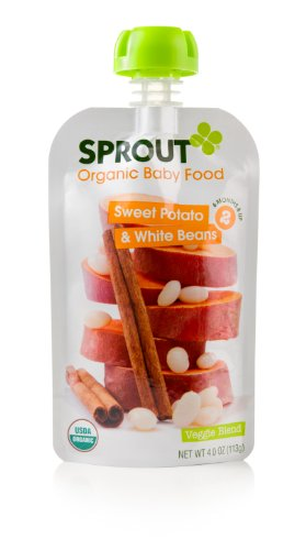 Sprout Organic Baby Food Stage 2 Pouches, Sweet Potato White Beans with Cinnamon, 4 Ounce (Pack of 5)
