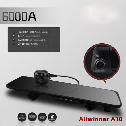 """Docooler 6000A Car Rearview Mirror Camera Recorder Dvr Dual Lens 4.3"""" Tft Lcd Hd 1920X1080P Rear View Camera 720P G-Sensor"""