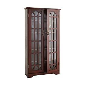 SEI Window Pane Media Cabinet, Cherry