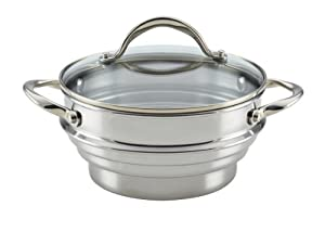 Anolon 77447 Classic Stainless Steel Universal Covered Steamer Insert with Glass Lid by Anolon