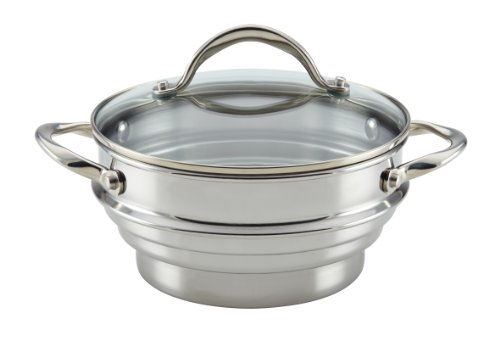 Anolon 77447  Classic Stainless Steel Universal Covered Steamer Insert with Glass Lid