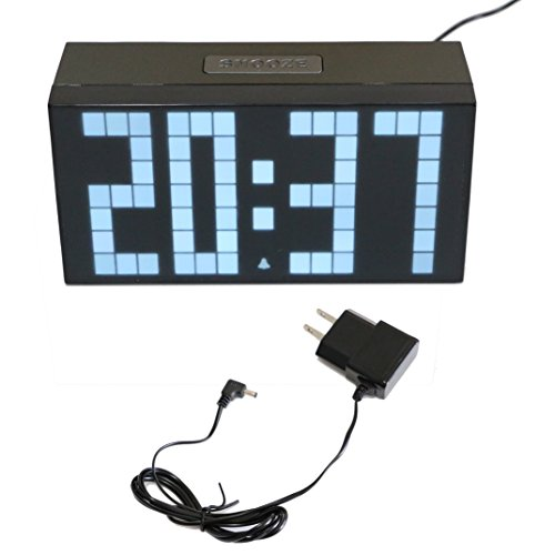 T Tocas Large Big Number LED Snooze Wall Desk Alarm Clock Thermometer Calendar (White) (Led Numbers compare prices)