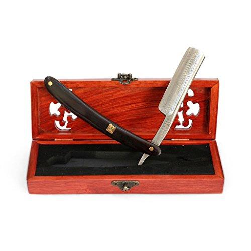 """A.P. Donovan - Luxus 7/8"""" Rasiermesser in einer Holzschatulle - Klinge mit Damast-Muster (gehärteter Stahl / nicht rostfrei) - Sandel Holzgriff"""