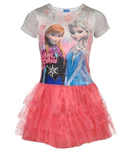 """Disney Frozen Big Girls' """"Frozen Family Forever"""" Dress - Pink/White, 7 - 8 front-1025646"""