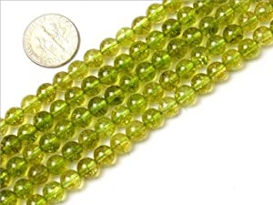 6mm Round Gemstone green peridot beads strand 15