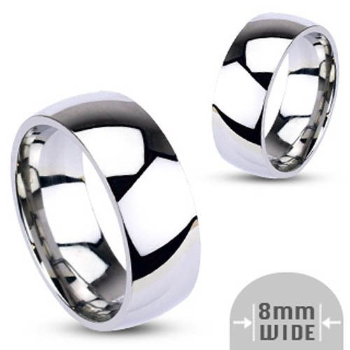 316L Stainless Steel 8mm Wide Glossy Mirror Polished Traditional Wedding Band Ring - Size 9