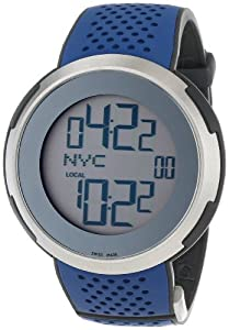 Gucci Men's YA114105 I-Gucci Digital Blue Black Rubber Strap Watch